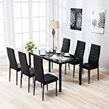 mecor 7 piece kitchen dining set gl top table with 6 leather chairs breakfast furniture