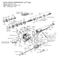 flathead parts drawings transmissions three speed std trans for 1960 64 ford six 140 170 type 277