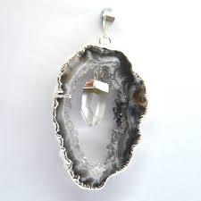 crystal geode slice clear quartz point pendant 30405