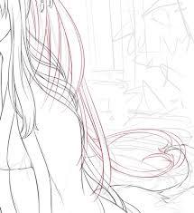 メイキングキャラ線画長い髪はレイヤー分けて頑張るイラスト03