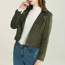 classic women soft faux leather jackets cool zippers short motorcyle coat