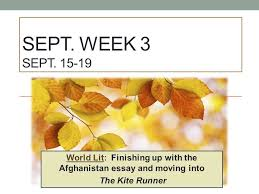 sept week sept world lit finishing up the  1 sept