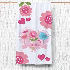 bath towel. sweet birds childs bath towel personalised monogram baby gift