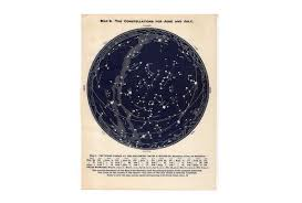 C 1955 June July August Star Map Constellations Map Vintage Astronomy Print Celestial Star Chart Northern Hemisphere