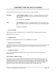 sales contracts sample contract for the sale of goods template sample form biztree com