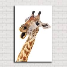high quality loving animal canvas framelss oil painting cute giraffe wall art pictures printed on canvas