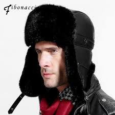 <b>Fibonacci</b> Men's hat for winter <b>Brand quality</b> Imitation leather ear ...