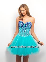 Bustie Abend Kleid Cocktailkleid in Türkis Blau