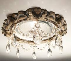 recessed light trim in victorian style with 2 inch clear tear drop crystals