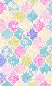 Soft Bright Pastel Floral Moroccan Tiles Fabric By Micklyn On