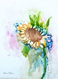 original watercolor on board by susan marie fairclough small sunflower splash unmatted 9