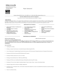 Resume For Servers Server System Administration Resume