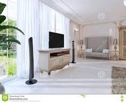 Luxuriöses Schlafzimmer Mit Einem Großen Sofa Und Fernseheinheit Das