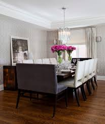 transitional dining room with a low wooden dining table for white wooden seater chairs idea with two grey benches