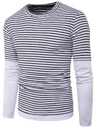 Faux Twinset Panel Design Shirt Long Sleeve Faux Twinset Stripe Panel T Shirt