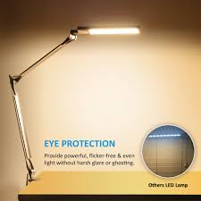 byb e430 metal architect swing arm desk lamp dimmable led task lamp with clamp eye care drafting table lamp 4 lighting modes 6 level dimmer