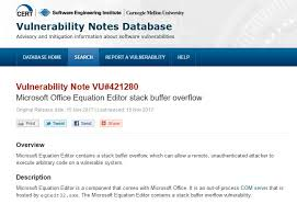 cert issued an alert on the microsoft office equation editor vulnerability that microsoft didn t think it was critical kb cert org vuls id 421280