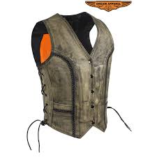 women s distressed brown leather motorcycle vest with side laces zoom