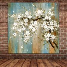blooming almond oil painting on canvas modern large wall art blossoms picture fabric flowers decoration  on large modern fabric wall art with blooming almond oil painting on canvas modern large wall art