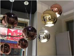 modern led chrome gold copper glass globe round ball pendant lights hanging lighting for dining room