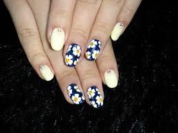 Nails Solunaネイビーお花ネイル