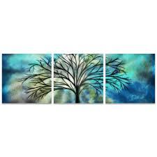 Metal Art Studio - Moonlight Triptych by Stephanie Fields - Whimsical Tree  Art on Metal or Acrylic #L0036TR