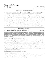 Marketing Experience Resume Marketing Manager Resume