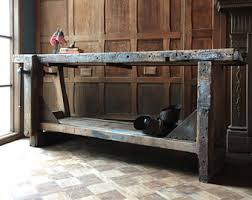 vintage sofa table. Antique Wood Working Workbench With Vice, Vintage Industrial Workbench, Console Table, Primitive Sofa Table