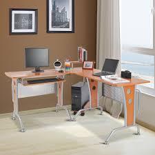 homcom 67 modern l shaped corner computer desk office workstation pc table with corner