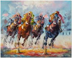 hand painted horse racing oil painting on canvas 24x20 impressionist wall art