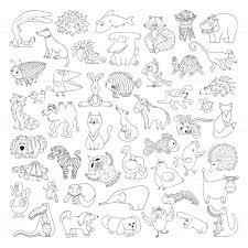 Groot Vector Set Van Grappige Wilde Dieren En Huisdieren Kleurplaat