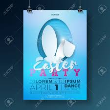 Vector Easter Party Flyer Illustration With Rabbit Ears And Typography