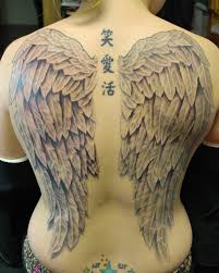 Full Back Angels Wings Tattoo And Chinese Letters Spine Tattoo For