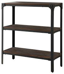 Max Metal and Wood Bookcase, Antique Walnut, 2 Tiers industrial-bookcases