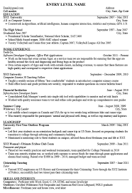 entry level it resume template entry level engineering resume