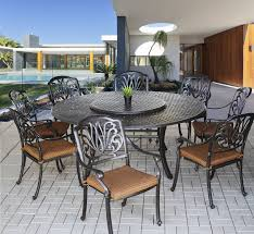 elisabeth outdoor patio 9pc dining set with series 5000 71 round table includes 35 lazy susan cushions antique bronze finish dining sets patio