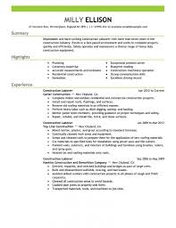 Awesome Laborer Job Description For Resume Gallery Simple Resume