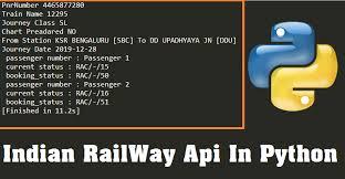 Pnr Status Api In Python Indian Railways Api Python