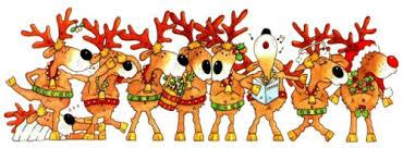 reindeer christmas clipart. Beautiful Clipart Reindeers Celebrates Christmas Singing And Dancing On Reindeer Clipart G