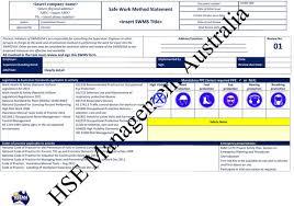 Method Of Statement Sample Safe Work Method Statements SWMS HSEMA 30
