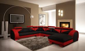 divani casa 7395 modern red and black leather sectional sofa with headrests 1 black and red furniture