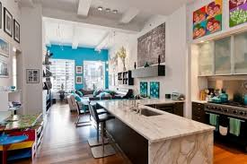 New York Living Room Blue Wall Living Room And Modern Open Kitchen Space Dweefcom