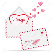 Vector Simple Envelope With Red Paper Heart Valentine Card Inside