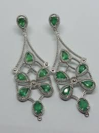 art deco statement legacy natural emerald chandelier earrings no reserve