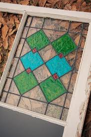 diy antique window with faux stained glass