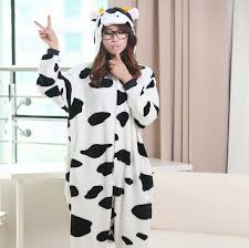 plus size footed pajamas flannel cow cosplay onesies footed pajamas plus size hooded