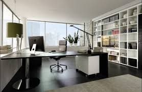 home office interiors. Modern Home Office With L-shaped Glass Desk Interiors