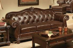 top grain tufted leather sofa