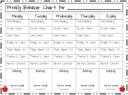 Weekly Behavior Chart Kindergarten Www Bedowntowndaytona Com