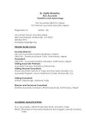Resume Template For Doctors Free Sample Cv Resume Format For Doctors